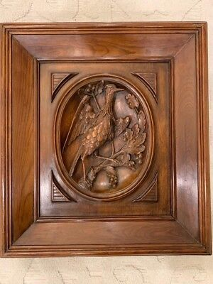 Antique Panel Of A Tropical Bird, Hand Carved Out Of Rosewood