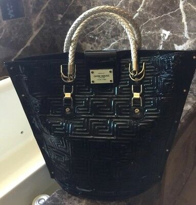 f3529f818a Gianni Versace 100% Authentic Couture Patent Leather Quilt Handbag Purse
