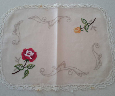 Beautiful Vintage Embroidered Floral Duchess Doily Set - 36 x 28