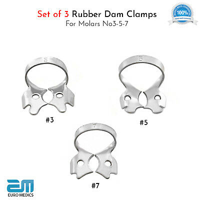 Dental Ivory Rubber Dam Clamps Winged Premolars Endodontic Lower Molar Placement