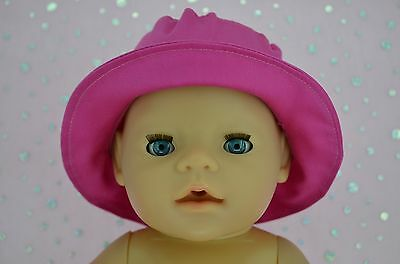 "Play n Wear Doll Clothes To Fit 17"" Baby Born HOT PINK DRILL SUN HAT"