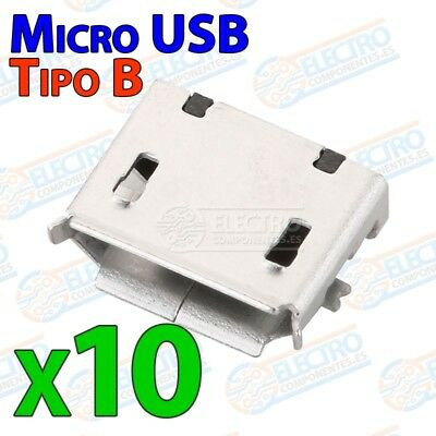 10x Conector Micro USB Tipo B Hembra soldar SMD standard