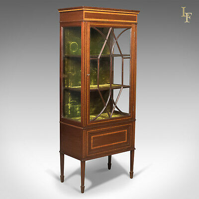 Antique Glazed Display Cabinet, Mahogany, Edwardian, English, c.1910