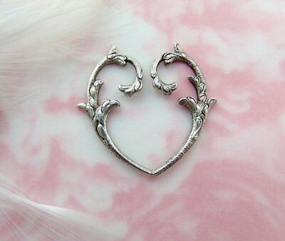 ANTIQUE SILVER (2 Pieces) Branch Scroll Open Heart Stamping ~ Finding (E-543)