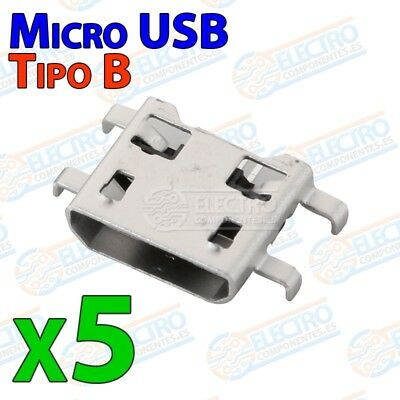 5x Conector Micro USB Tipo B Hembra soldar SMD patas 90º