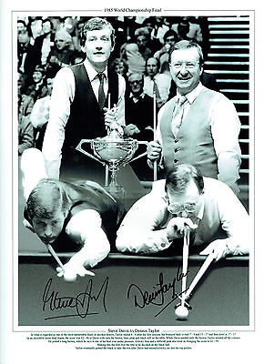 Steve DAVIS & Dennis TAYLOR Signed Autograph 16x12 SNOOKER Final Photo AFTAL COA