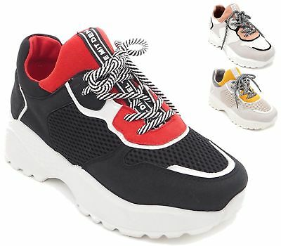198e4a4f13e Womens Ladies Retro Platform Lace Up Chunky Trainers Sneakers Pumps Shoes  Size