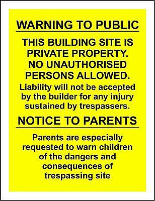Warning to the public this building site is private property sign