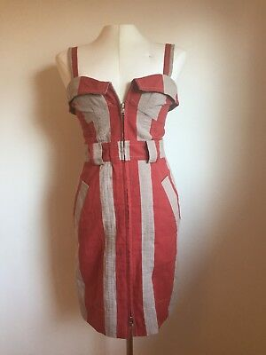 1bcabdb9fd Marc by Marc Jacobs Candy Striped Red And Beige Cotton Linen Dress 4  Xs