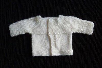 Baby clothes UNISEX GIRL BOY premature/tiny<4lbs/1.8kg white cardigan SEE SHOP!