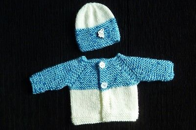 Baby clothes BOY premature/tiny<4lbs/1.8kg blues, white cardigan/hat SEE SHOP!