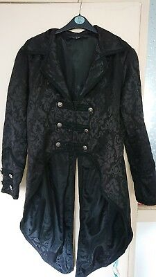 Black damask Swallowtail Tail Coat French Court jacket goth victorian stampunk