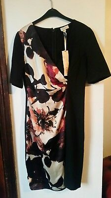 Kaliko Ladies Black Fitted Dress With Floral Panel Size 8 BNWT