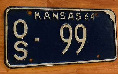 1964 KANSAS License Plate - BLUE With WHITE Letters 1964 OS-99 Low Number
