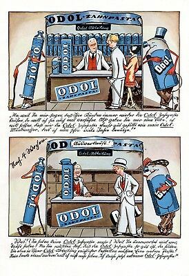 Odol toothpaste sold out Very rare 1928 XL ad comic advertising Sutterlin letter