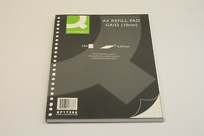 A4 Q-CONNECT REFILL PADS x 100 SHEETS, SQUARED PAPER, 10MM SQUARES SIDE PUNCHED