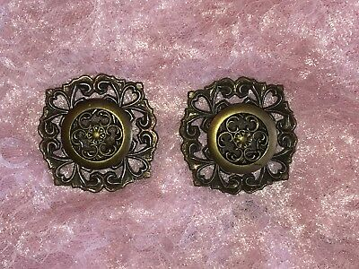 Vtg Ornate Fancy ROSETTE KNOB BACKPLATE SET Dresser Door Cabinet Applique