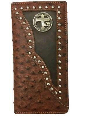 2 Men/'s Wallets Check book with HORSE and Cross Praying Cowboy #728 Rice White