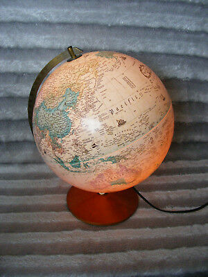 "Vintage Replogle 12"" Diameter World Classic Series Globe Light on Wooden Base"