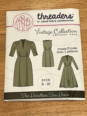 Threaders Crafter's Companion Sewing Pattern Tea Dress Combination 8-16 Uncut!