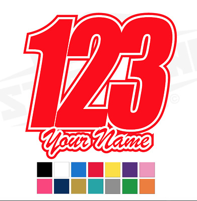 3 X Custom Race Numbers and Name Vinyl Stickers/Decals Race Motorbike MX Kart