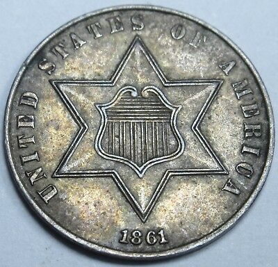 1861 AU-BU US Three Cent Piece 3 Penny Silver U.S. 3C Antique Currency Coin