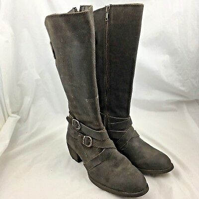 a47be40e73d0 Born womens boots tall knee high brown leather 7.5 strappy full zip block  heeled
