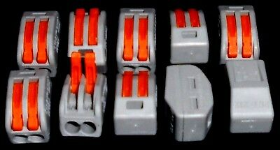 10 x 2 Way Spring Lever Electric Terminal Block Cable Connector Wago Type