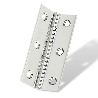 Pair ECLIPSE SOLID DRAWN BRASS DOOR BUTT HINGES-POLISHED CHROME-64 x 34MM-HG6044