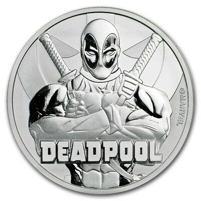 2018 Tuvalu Deadpool Marvel Comics 1 oz Silver BU Coin In Capsule