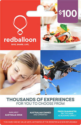 REDBALLOON $100 gift card certificate Skydiving Dining Spa Accommodation Voucher