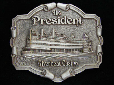 OE01123 VINTAGE 1970s **THE PRESIDENT RIVERBOAT CASINO** PEWTER BELT BUCKLE