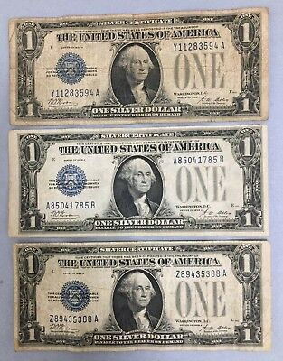 Lot of (3) 1928 A $1 Blue Seal 'Funny Back' Silver Certificate Notes | #BN411