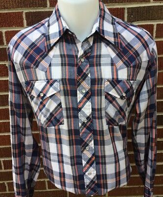 Vintage Monzini Western Pearl Snap Shirt Blue Plaid Men's LARGE