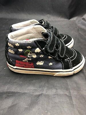 cc3097d98c Vans Kids Peanuts Sk8-Mid Snoopy Red Baron Flying Ace Shoes Toddler Size  8.5 EUC