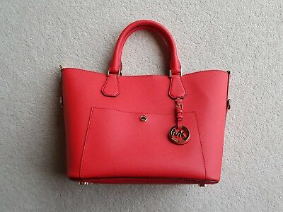 760025e4c5 Michael Kors NEW Greenwich Large Grab   Bucket   Tote Leather Bag - Red
