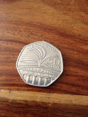 50p CIRCULATED COIN.150th ANNIVERSARY OF PUBLIC LIBRARIES DATED 2000