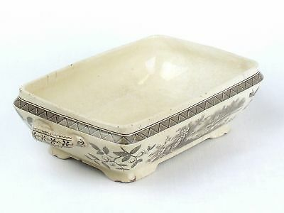 ANTIQUE Burgess & Leigh Hill Pottery Rustic AESTHETIC Brown TRANSFERWARE Dish