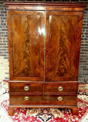 Georgian Antique Mahogany Linen Press Wardrobe Armoire Vgc. For A Nurses Charity