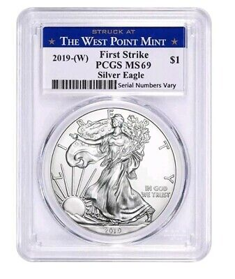 2019 1 oz Silver American Eagle PCGS MS 69 West Point First Strike