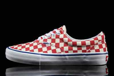 fe22b4ac530 VANS ERA PRO Checkerboard Old Skool Skate Rococco Red WhiteTrainers ...