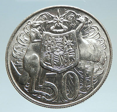1966 AUSTRALIA UK Queen Elizabeth II with Kangaroos Silver 50 Cents Coin i75301