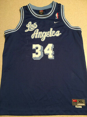 625c5af60d2 Nike Los Angeles Lakers Shaquille O'Neal Shaq #34 Cursive Blue NBA Jersey XL