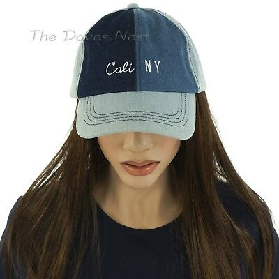 be3f318a8aa2f SO Women s BLUE Mixed DENIM BASEBALL CAP Hat WHITE Embroidered CALI NY One  Size