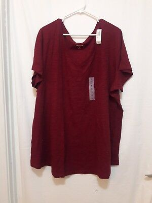 35e81cde5f6169 NWT OLD NAVY Womens Everywear Slub V-neck T-shirt Burgundy