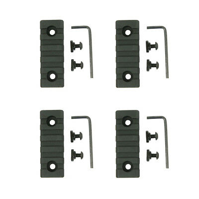 "M-LOK 3"" 3 in 5 Slot Picatinny Weaver Rail Section Segment Aluminum - 4 PACKS"