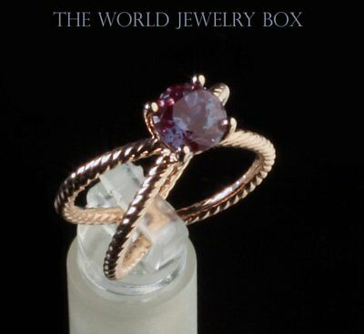 14K Rose Gold Chatham Alexandrite Solitaire Engagement Ring, 1 Carat 6.5MM Round