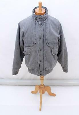 MENS Vintage Retro Distressed Grey High Collar Long Sleeve Jacket Blazer Coat L