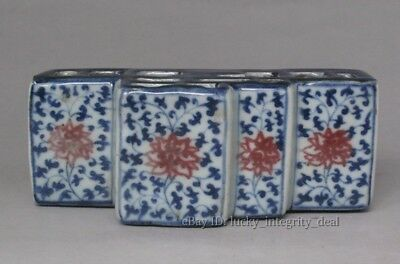 Old Chinese Blue and White Red color Porcelain Hollow Paperweight