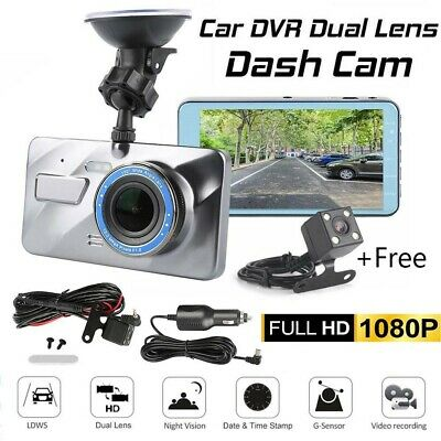 "New 4"" HD 1080P Car DVR Dual Lens Dash Cam Video Camera Recorder Night Vision"